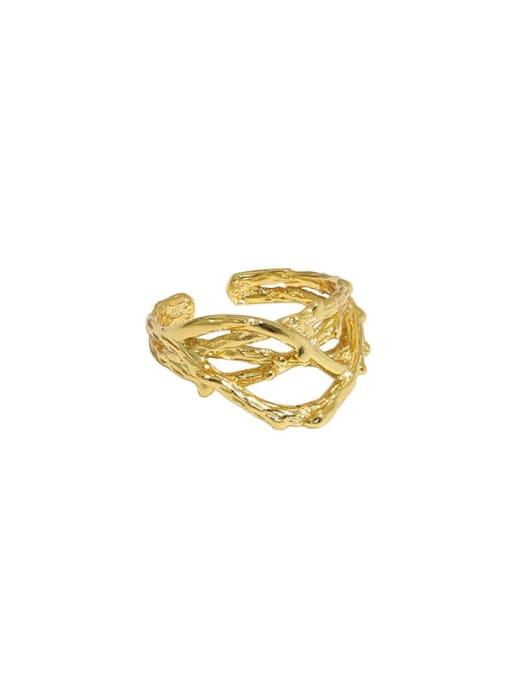 Gold [single] 925 Sterling Silver Irregular Vintage Stud Earring